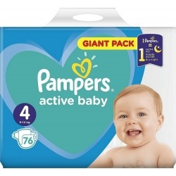 Pampers Active Baby Giant Box Πάνες No4 (9-14kg) 76τμχ