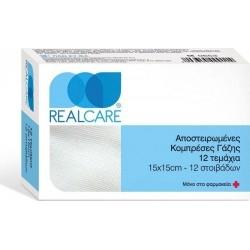 Real Care Αποστειρωμένες Κομπρέσες Γάζης 15x15 12τμχ