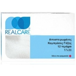 Real Care Αποστειρωμένες Κομπρέσες Γάζης 17x30 12τμχ