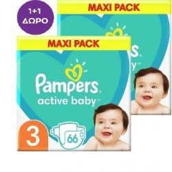 Pampers 1+1 ΔΩΡΟ Active Baby Maxi No3 (6-10kg) 2x66τμχ