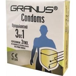 Granus Condoms Προφυλακτικά 3 σε 1 με Αρωμα Βανίλια