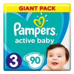 Pampers Active Baby Giant Box Πάνες No 3, 6-10kg 90τμχ