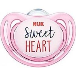 Nuk Freestyle Πιπίλα Σιλικόνης Sweatheart Ροζ 18-36m