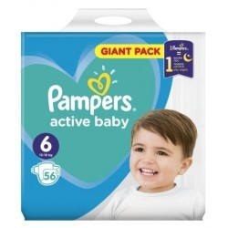 Pampers Active Baby Giant Box Πάνες No6 (13-18Kg) 56τμχ